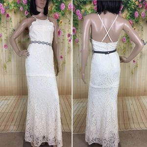Lulu's White Lace Wedding Dress with Bridal Belt